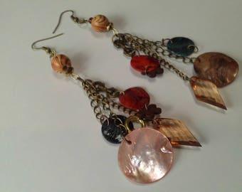 Long Brass Chain & Capiz Shell Earrings, Boho, Beachy Earrings, Long Brass Boho Earrings, Brass Chain Summer Earrings, Summer Earring Sale