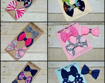 Girls Hairbows, Set of 3, Back to School, Hairbow Set, Fabric Bows, Denim Hair bow, Lace Hairbow, Girls accessories, Toddler Hair Clip