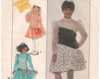 1988 - Simplicity 8962 Vintage Sewing Pattern Girls Size 10 Made In Heaven Dress Lace Gathered Petticoat Puff Sleeve High Neck Party Fancy