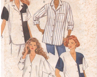 1992 - Butterick 6225 Vintage Sewing Pattern Size 20 Bust 42 Fast Easy Loose Button Down Shirt Drop Shoulders Shaped Hem V Neck