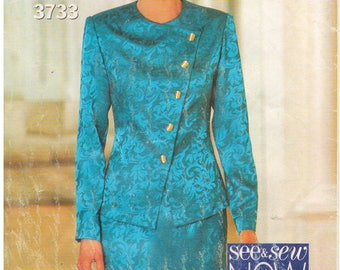 1994 - See & Sew 3733 Vintage Sewing Pattern Size 8 Bust 31 1/2 Easy Top Jacket Skirt Suit Semi Fitted Princess Seams Asymmetrical Straight