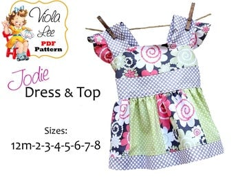 Jodie...  Girl's Top Pattern, Girl's Sewing Pattern pdf. Girl's Dress Pattern. Toddler Dress Pattern, Toddler pdf Sewing Pattern. Download
