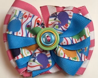 Whale Party - Pink, Turquoise, Green, Orange Multicolor Boutique Style Ribbon Bow Handmade for PETS Dog Bow Collar Accessory