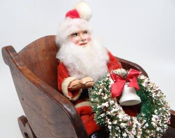 1950's German Sitting Santa, Antique Christmas, Vintage Hand Painted Face