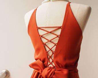 2017 Brick Color Dress Orange-Brown Dress Low Back Boho Dress Cross Rope Dress Short Or Long Dress Prom Dress Swing Fit and Flare Dress