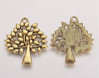 Antique Gold TREE Charms / Pendants - Lead Free & Nickel Free, 29mm Long, 24mm Wide, 1.5mm Thick, Hole: 2mm