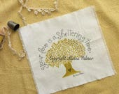 Handprinted Hand Carved Your Love is a Sheltering Tree with Heart Pen and Ink Illustration on Cotton Fabric Label Patch Michelle L. Palmer