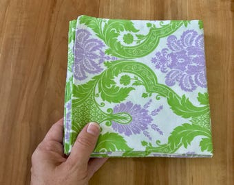 Napkins Lunch Dinner Bohemian Damask Lime Green Purple set of 4