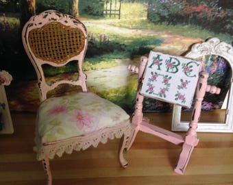Dollhouse Miniature Shabby Chic Cottage Chic Farmhouse Vintage Victorian Style Pink Embroidery Sampler on Stand and Matching Chair