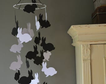 Bunny / rabbit nursery mobile or baby mobile made from black and white card stock -- Handmade, Peter rabbit style