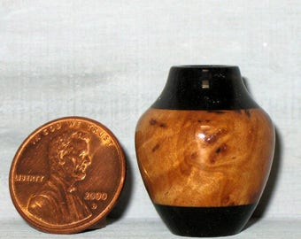Gray Box Burl and Ebony Turned Wood Miniature Pot