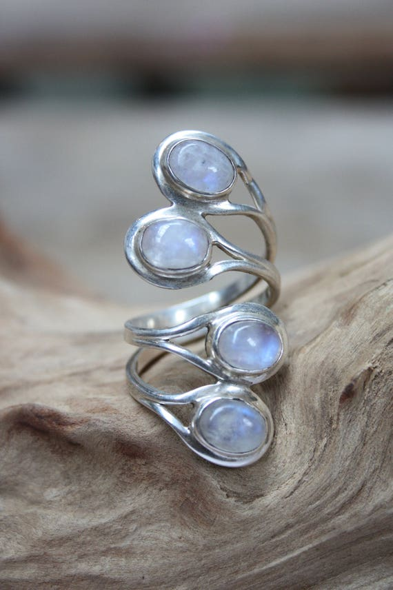 4 Stone Moonstone Ring- ADJUSTABLE -925 Sterling Silver Ring- Statement Ring- Healing Crystal- Crystal Jewellery- Navajo- Gift- Vintage Ring