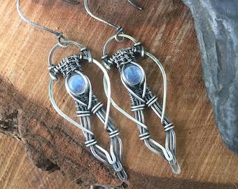 Moonstone Earrings - Sterling Silver Earrings - Wire Wrap Earrings - Dangle Earrings - Bridal Jewelry - Gemstone Earrings - Unique Gift