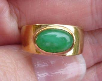 Amazing large  Apple Jade ring in a art deco mounting Bezel set