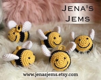 Bumble Bee Crochet Toy Rattle-Cotton baby shower gift