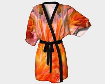 Cozy Flamingo Kimono Robe with