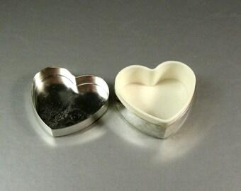 Silver Tone Metal Heart Shaped Plastic Lined Pill Box