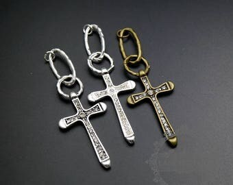 6pcs 23x39mm silver,bronze,antiqued silver brass rhinestone cross pendant charm with two rings DIY supplies 1810480