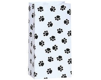 25   Flat Bottom Paper Bags,  Paw Print  Merchandise Bags,  Lunch Bags - 4-1/4x2-3/8x8-3/16- Gifts, Packaging, Retail