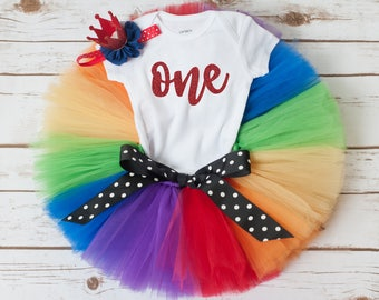 Rainbow birthday oufit 'Remi' circus first birthday, primary colors birthday, rainbow baby birthday, rainbow first birthday outfit girl