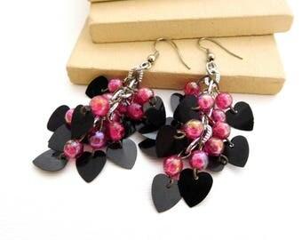 Retro Vintage Black Heart Sequins Magenta Pink Bead Fringe Dangle Earrings II42