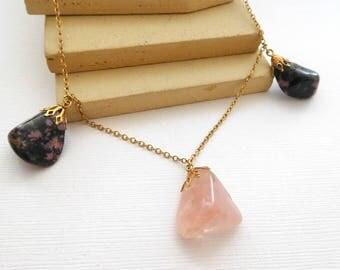 Vintage New Age Genuine Pink Rose Quartz Rhodonite Gemstone Charm Necklace JJ28