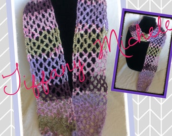 Purple Net Handmade Scarf Boho Style