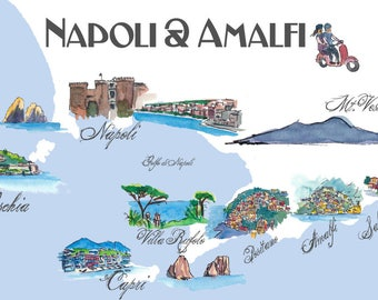 Napoli & Amalfi Favorite Map with touristic Top Ten Highlights - Fine Art Print