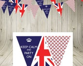 Union Jack Bunting Garland banner keep calm  INSTANT  DOWNLOAD printable bunting british flag party decoration party flags home decor london