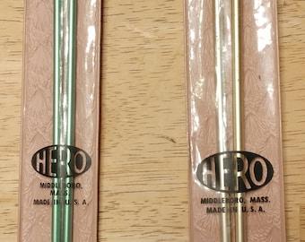 """10"""" Hero Aluminum Knitting Needles Size 4 and/or Size 6 -Vintage"""