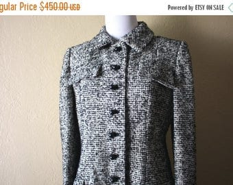 Clearance Sale Vintage Bill Blass Black and White Wool Boucle Coat