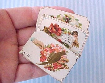 3 Darling and Unusual Tiny Victorian Calling Card Samples