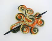 Large Hair fork, Thick Hair Clip, Art Nouveau Barrette, Bohemian Hair Accessory, Hair Stick Barrette, Bun holder, Orange Green slide brooch
