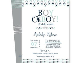 Mod Arrow Baby Shower Invitation Navy and Mint - Woodland - Tribal Invites - Baby Boys Sprinkle - Party Printable or Printing - Customized