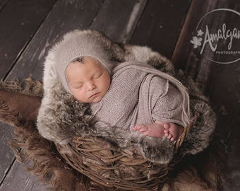 angora knitted bonnet, newborn props