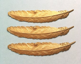 3 x Large brass feather chevron stampings 88mm