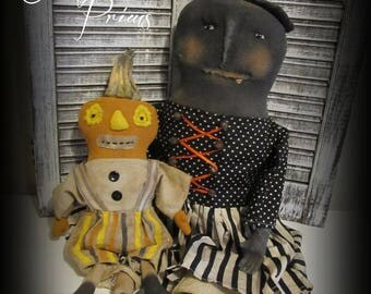 Primitive Halloween Witch Doll W/ Pumpkin Friend ~Folk Art Halloween Dolls