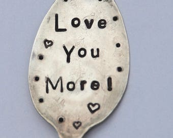 Love You More hand stamped Garden Marker with hearts // Vintage Recycled Spoon