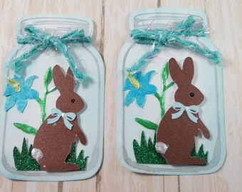 Two Easter Bunny Mason Jar  Scrapbook Embellishments, Easter Gift Tag