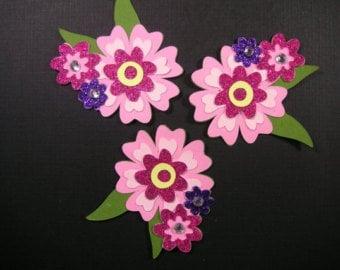 3 Handmade Scrapbook Flowers, Scrapbook embellishment, Cards, Decorating