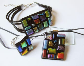 Multicolored patchwork jewelry set