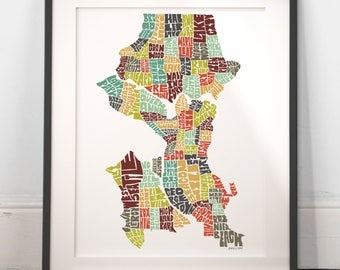 Seattle typography map, seattle map art, seattle neighborhoods print, seattle washington art, seattle gift, hand drawn typography series