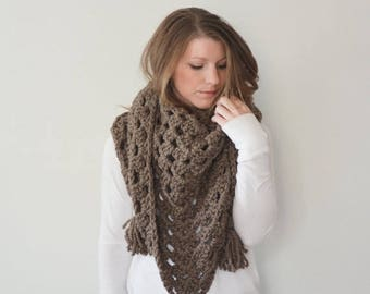 FLASH SALE chunky crochet triangle scarf shawl - the LATITUDE scarf - taupe