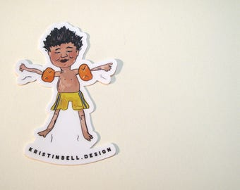 Swimming Kid with Different Ability Vinyl Die Cut Sticker