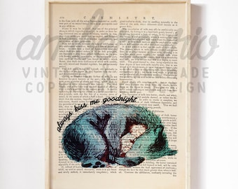 Always Kiss Me Goodnight Nursery Lullaby Wall Art Vintage Print on Unique Antique Unframed Upcycled Bookpage