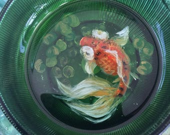 Calico Goldfish Resin Painting in Green Glass Bowl with Plants 49
