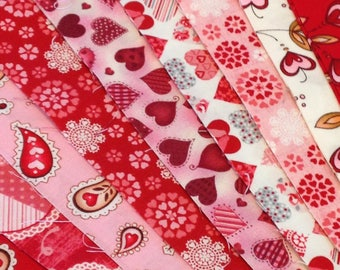 Heart Jelly roll, 20 strips, red white pink jelly roll fabric, Quilters Time Saver  Jelly Roll , Valentines quilt