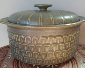 1970's Wedgwood Cambrian Green Serving Casserole Dish w/ Lid- Funky Textured Earthy Made in England Kitchen Cooking Tureen Decor Retro Boho