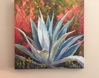 Agave painting,Succulent Painting,Agave succulents, Blue agave oil painting, botanical painting, succulent oil painting,succulents,
