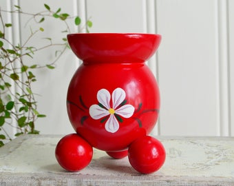 Red Christmas candle holder, vintage Swedish wooden candlestick, holiday home decor, advent decoration
